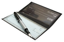Black Genuine Leather Standard Plain Checkbook Cover Long Wallet Men Women SALE