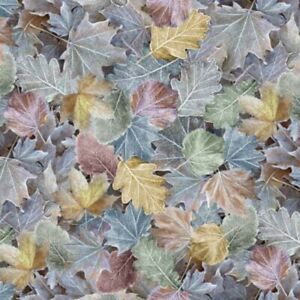 100% Cotton Fabric Timeless Treasures Winter Frost Ice Leaves Floral