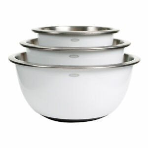 OXO Good Grips 3 Piece Stainless Steel Nesting Kitchen Mixing Bowl Set, White