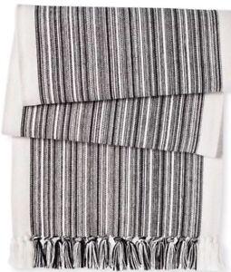 Threshold Variegated Stripe Table Runner Fringe Black Ebony  NWOT 14x72