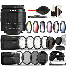 Canon EF-S 18-55mm III Lens + Color Filters, UV CPL ND8, Macro Filters Bundle