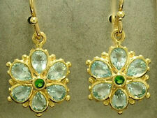 E036 Genuine 9ct SOLID Gold NATURAL Topaz & Emerald Daisy Drop Dangle Earrings
