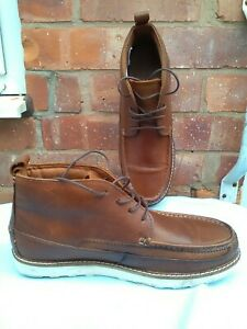 Brown Boots With White Souls Made In India , UK Size 8 Unbranded.