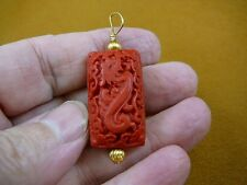 J-1) RED CINNABAR Pendant necklace carved wood lacquer flower bead loop jewelry