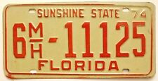 Florida 1974 Palm Beach Mobile Home License Plate