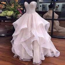 Pearl Pink Ruffles Beaded Wedding Dresses 2019 Sparkle Bridal Gowns Plus Size