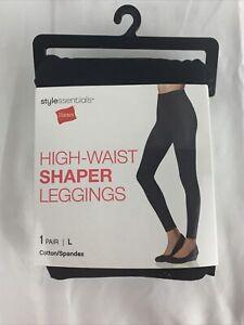 Hanes Womens Black High Waist Shaper Leggings Cotton Spandex Sz M, L, XL