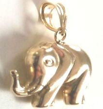 14k Oro Amarillo Capa en plata de Ley altamente Polish Elefante CHARM COLGANTE