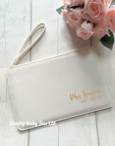 Personalised Mrs Ladies' Clutch Bag, Bride Wedding Clutch Bag, Any name and year