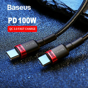Baseu 2M 100W USB C Type C PD 2.0 QC 3.0 Fast Charging Cable For iPad Pro laptop