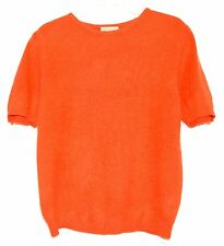 Neil Martin Orange Wool & Angora Womens Short Sleeve Crewneck Sweater Size M