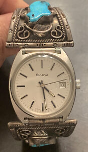 Vintage Navajo Sterling Silver And Turquoise Watch Tips w Band Mens Bulova Watch