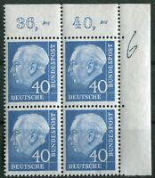 Bund Nr. 260 x w ERVB Heuss Eckrand Viererblock postfrisch aus Ecke 2 BRD 1956