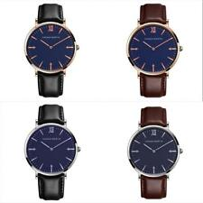 Men's Simple Dial Watch Casual Leather Silver/Rose Gold Analog Quartz Wristwatch