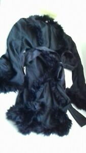 MYLA GIFT BOXED BLACK SILK NEGLIGEE GOWN ROBE SIZE SMALL 8-10 HOLLYWOOD STARLET