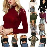 Womens Long Sleeve Slim Crew Neck Crop Tops Stretch Evening Party Casual T-Shirt