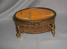 Vintage Ormolu Gold Filigree Jewelry/Trinket/Music Box Cherub Legs NICE