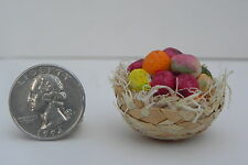 Dollhouse Miniature Straw Basket filled Hand Painted Fruits Food Market Diorama