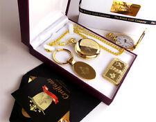 FREEMASON 24ct GOLD Hunter Pocket Watch Keyring Bullion Bar Gift Set in Case