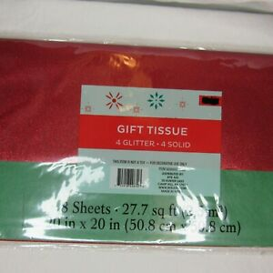 Glitter and Solid Color Tissue Paper Holiday Christmas Party Birthday 8 Pack