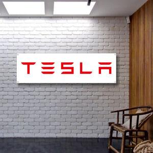 TESLA Banner Vinyl / Canvas Advertising Garage Sign Poster Workshop Flag