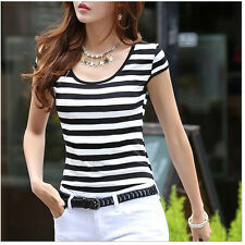 Trendy Summer Womens Girls Blouse Top Striped Printed Cap Sleeves x-small