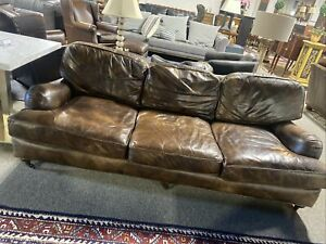 Restoration Hardware English Rolled Arm Leather Sofa