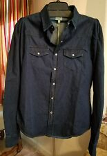 NWT Torn by Ronny Kobo Dark Wash Denim Button Down Shirt Top 3NC65MS L $313