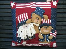 Pillow Red White Blue Patriotic Holiday Uncle Sam Bears Dimensional Quilited 15""