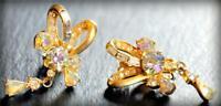 Vintage 1957 Hollycraft Matte Gold Tone AB Rhinestone Bow Drop Clip Earrings
