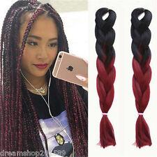 "24"" Ombre Black / Burgundy Kanekalon Jumbo Synthetic Braiding Hair Extensions"