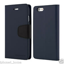 For iPhone 6/6s Plus Genuine Goospery Navy Blue Leather Wallet Case Cover