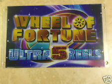 IGT Wheel of Fortune sign, slot machine plexiglass sign. W.O.F.,  Ultra 5 Reels