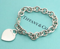 TIFFANY&Co Heart Tag Charm Bracelet Sterling Silver 925 Bangle NN