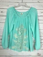 YA Los Angeles Boutique Women's S Small Aqua Floral Lace Spring Blouse Top Shirt