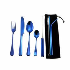 8pcs Flatware set Stainless Steel Blue Chopsticks Straws Travel Silverware Set