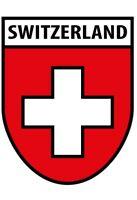 Switzerland Suisse Armoiries Pancarte en Tôle Signe Métal Voûté Étain 20 X 30 CM
