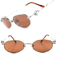 True Vintage Old Deadstock Funky Funny Mens Womens Silver Round Oval Sunglasses