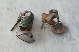 SIZE 6M L.A.M.B LEATHER KHAKI GREEN SEQUIN STRAPPY SLING BACK STILETTO HEELS ☀️