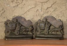 METAL BOOKENDS WESTERN OF STAGE COACH & HORSES