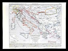 1849 Houze Map Ottoman Empire Turkey Greece Italy Naples Vatican 1400-1500 AD