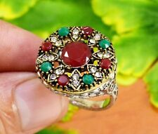 """Emerald Ruby Gemstone Turkish Victorian Silver Plated Ring Size US 7 1/2"""" GJR549"""