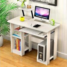 White Wooden Computer Desk Laptop PC Table Shelves Small Corner Workstation Unit