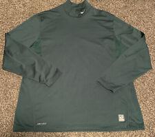 Nike Pro Combat Dri Fit  Fitted Green Mock Long Sleeve T-Shirt Mens 2XL Perfect