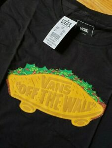 Xl boys black vans taco graphic tee NWT