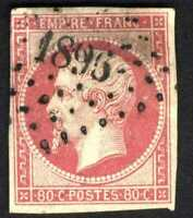 1860 FRANCE  PINK NAPOLEON SC#20 A3 80c  USED