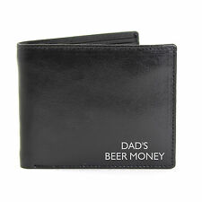 Black Leather Wallet Personalised For Free. Ideal for Fathers day, Birthdays.