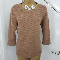 PURE COLLECTION Jumper Cashmere Lambswool Boat Neck Knit Brown Size UK 12 EU 38