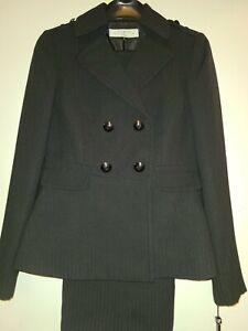 NWT Tahari Women's Black Stripe Polyester Blend 2 Piece Pants &Jacket Suit Sz 0P