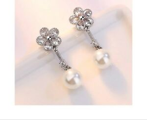 Excellent white gold plated simulated pearl crystal flower shape dangle earrings